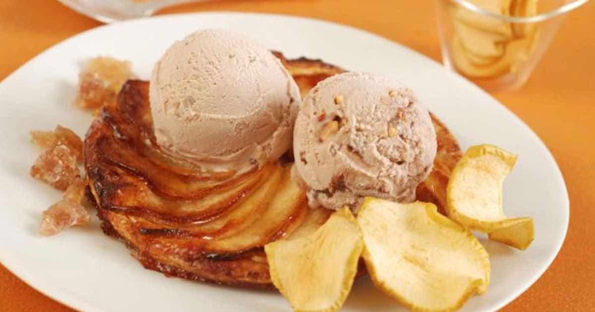Tarte fine aux pommes, glace caramel