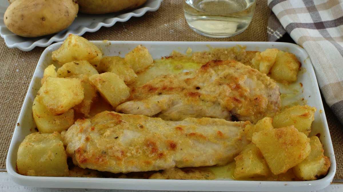 gratin de poulet et pommes de terre au four
