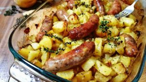 pommes de terre saucisses au four