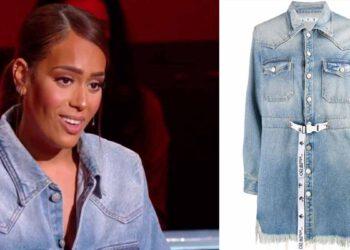 Amel Bent découvrez le prix astronomique de sa robe en jean et paire de bottes glitter dans The Voice